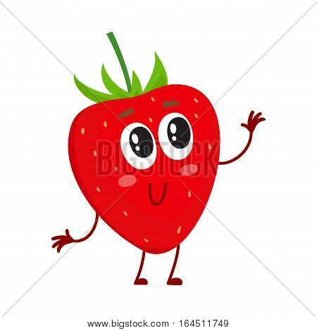 Cute and funny comic style garden strawberry character looking up, cartoon vector illustration isolated on white background. Red and ripe strawberry character, mascot with big eyes