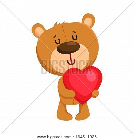 Cute traditional, retro style teddy bear character holding a big red heart, cartoon vector illustration isolated on white background. Teddy bear character with Valentine red heart