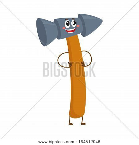 Funny metal hammer, building, repair tool character, cartoon vector illustration isolated on white background. Comic style metal hammer with wooden handle, building tool character, mascot standing
