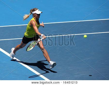 MELBOURNE, AUSTRALIA - JANUARY 26: Maria Kirilenko in action at her quarter final loss to Jie Zheng during the 2010 Australian Open on January 26, 2010 in Melbourne, Australia