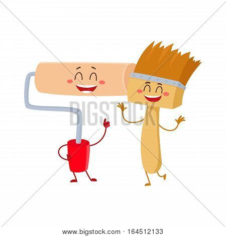 Funny smiling paint brush character and roller tool giving thumb up, cartoon vector illustration isolated on white background. Comic style paint roller and brush building tools, characters, mascots