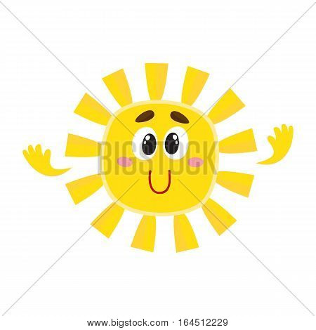 Cute and funny smiling sun with big eyes and hands, cartoon vector illustration isolated on white background. Cheerful sun character, symbol of summer season, hot weather and vacation at the sea