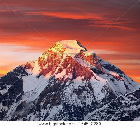 Mount Dhaulagiri evening sunset view of mount Dhaulagiri Himalayas Nepal