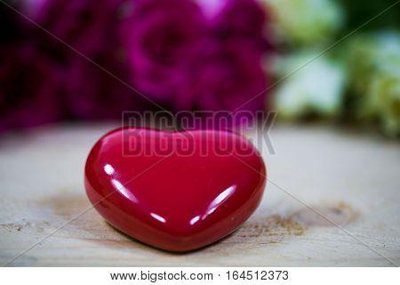 big heart on a wooden background, valentine day