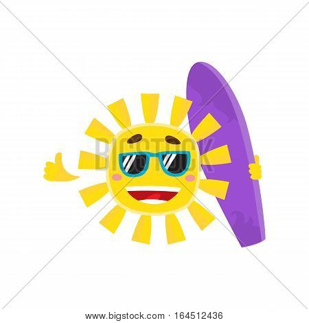 Smiling sun wearing sunglasses and holding surf board, cartoon vector illustration isolated on white background. Funny sun character in sunglasses holding surfboard, symbol of summer and vacation