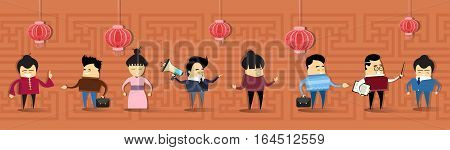 Asian Man Woman Asia People Group Cartoon Character Mix Race Flat Vector Illustration