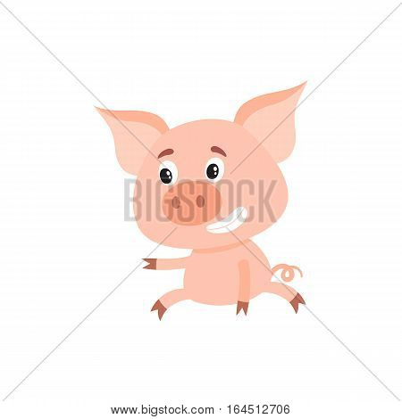 Funny little pig sitting awkwardly and pointing to something, cartoon vector illustration isolated on white background. Cute little pig sitting like a child and poiting to the left, decoration element