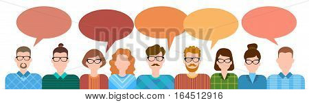 Business Cartoon People Group Talking Discussing Chat Communication Social Network Flat Vector Illustration