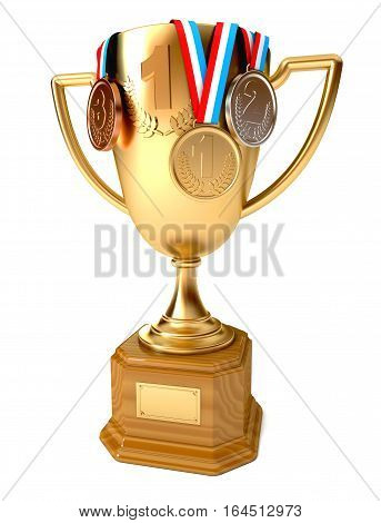 Gold cup of the winner with gold silver and bronze medals. Conceptual illustration. Isolated on white background. 3D illustration. 3D rendering