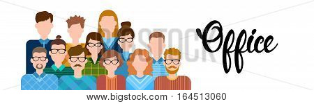 Business People Cartoon Character Set Man Woman Office Worker Collection Flat Vector Illustration