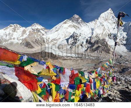 view of Mount Everest with buddhist prayer flags from Kala Patthar way to Everest base camp Nepal