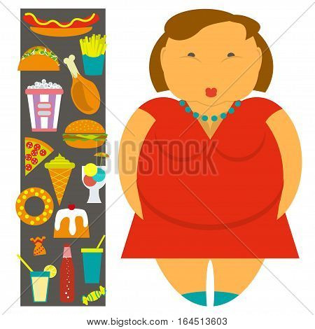 Obesity infographic template - junk fast food, female overweight elements, fat women. Diet and lifestyle data visualization concept poster. Vector illustration eps10