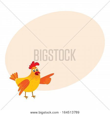 Funny cartoon red and orange chicken, hen pointing to something with wing, cartoon vector on background with place for text. Cute and funny colorful chicken looking and pointing to something
