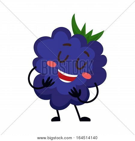 Cute and funny comic style blackberry character smiling wildly, cartoon vector illustration isolated on white background. Blackberry, dewberry character, mascot smiling proudly, singing, posing