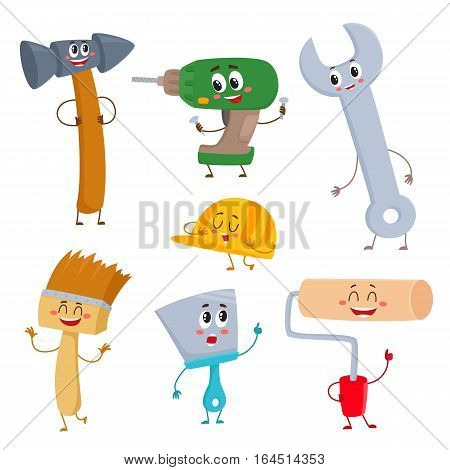 Set of funny building tool characters - hammer, drill, wrench, helmet, paint brush, roller and trowel, cartoon vector illustration isolated on white background. Comic style building tool characters
