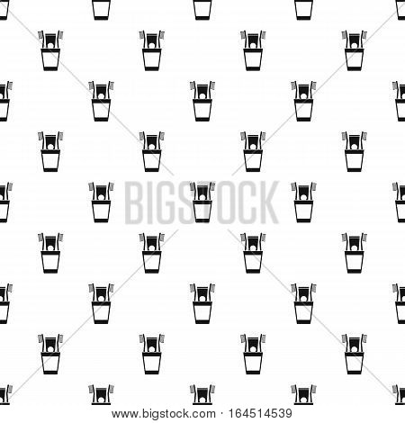 Cup with toothbrushes and toothpaste pattern. Simple illustration of cup with toothbrushes and toothpaste vector pattern for web