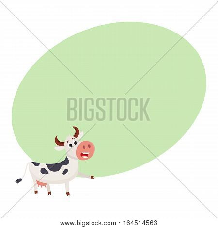 Funny black and white spotted cow character pointing to something and talking, cartoon vector illustration on background with place for text. Funny cow character drawing attention to something