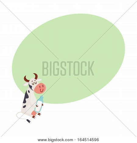 Funny glad black and white spotted cow sitting and holding a glass milk bottle, cartoon vector illustration on background with place for text. Funny cow with bottle of milk, dairy farm concept
