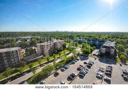 Aerial view at parking in Winnipeg City Manitoba Canada