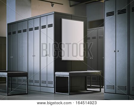 Blank poster in a modern dark locker room. 3d rendering