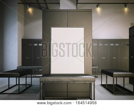 Blank poster on a bench in modern dark locker room. 3d rendering
