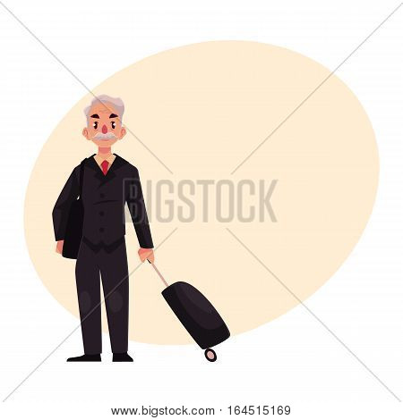 Old, senior, elder man in black suit with suitcase in airport, cartoon illustration on background with place for text. Full length portrait of old, senior man business traveler with luggage, suitcase