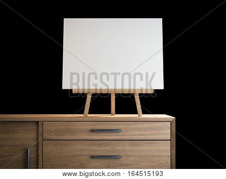 Small easel with blank frame on a wooden shelf. 3d rendering