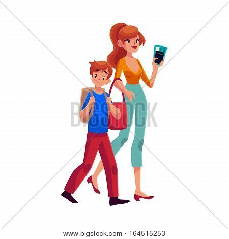 Young beautiful woman going on vacation with her son, holding boarding passes and passport, cartoon illustration isolated on white background. Full length portrait of young mother and son in airport