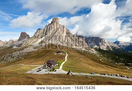 Passo Giau near Cortina d Ampezzo and mout Ra Gusela and Nuvolau Dolomites Italy