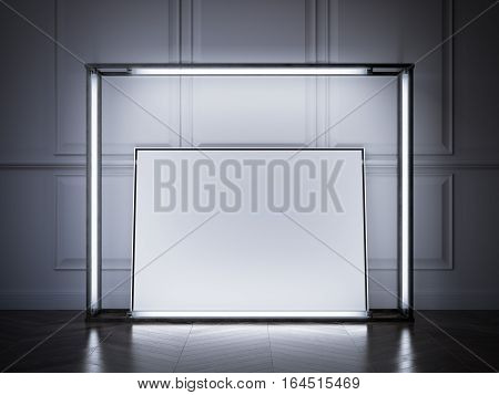 Glowing showcase with blank frame in a classic interior. 3d rendering