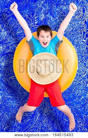 Cheerful Little Boy Celebrating His Summer Holiday
