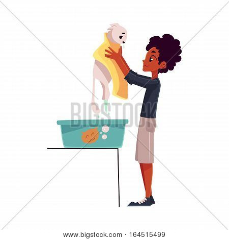 Black, African teenage boy washing, bathing white cat, cartoon vector illustration on white background. Full length portrait of black boy holding his cat after washing it in a bath