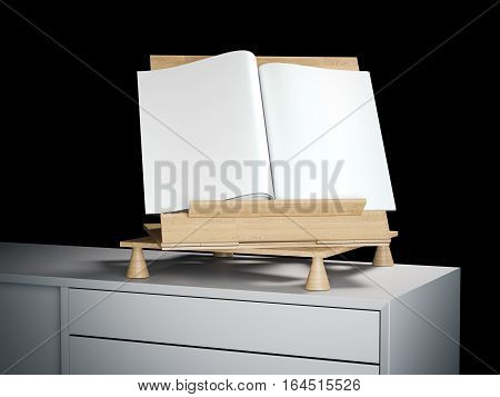 Wooden bookend with blank magazine on a white shelf. 3d rendering