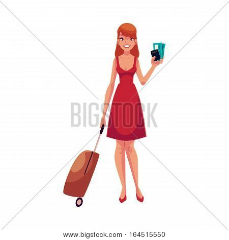 Young pretty woman in red dress with suitcase, ticket and passport, cartoon illustration isolated on white background. Full length portrait of beautiful girl, woman traveler with luggage, suitcase