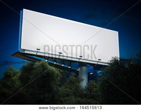 Blank billboard glowing at night in trees. 3d rendering