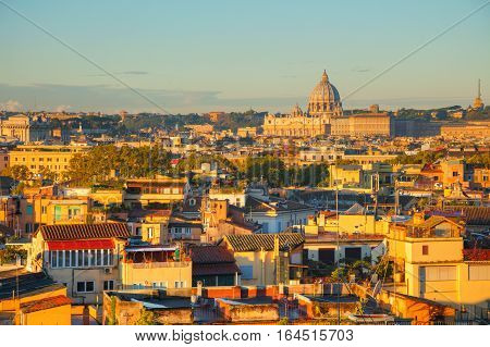 Aerial view of Rome with the Papal Basilica of St. Peter