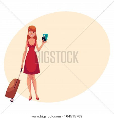 Young pretty woman in red dress with suitcase, ticket and passport, cartoon on background with place for text. Full length portrait of beautiful girl, woman traveler with luggage, suitcase
