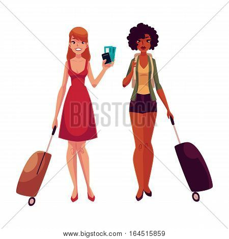 Two girls, black and Caucasian travelling together with suitcases, one holding tickets, another wearing backpack, cartoon illustration isolated on white background. Young women with luggage, suitcases