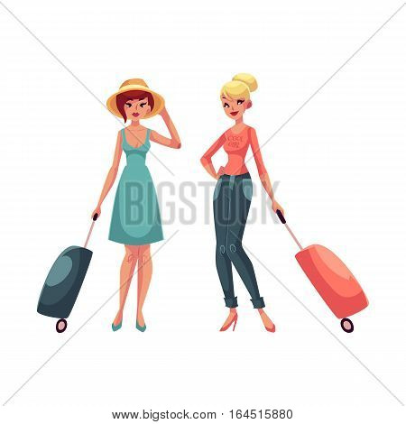 Two girls, travelling together with suitcases, one in dress and hat, the other wearing jeans, cartoon illustration isolated on white background. Young pretty girls, women with luggage, suitcases