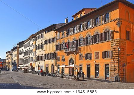 FLORENCE, ITALY: January 19, 2016 : facades of medieval houses at the square in front of the Pitti Palace on january 19, 2016, Florence, Italy