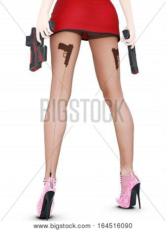 Dark nylon tights with guns, bullets and trajectory line. Short skirt. Female domination. Sexy slim female legs in dark pantyhose. Seductive pose. Conceptual fashion art. 3D render illustration.