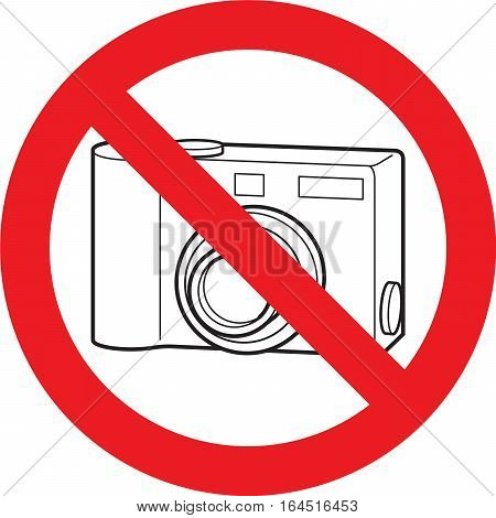 No photo camera allowed sign on a white background