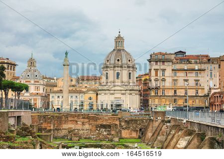 ROME - NOVEMBER 07: Santa Maria di Loreto church and Colonna Traiana with people on November 7 2016 in Rome Italy.