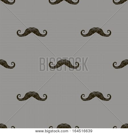 Black Hairy Mustache Silhouettes Seamless Pattern on Grey Background