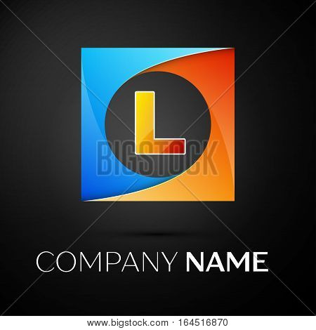 Letter L vector logo symbol in the colorful square on black background. Vector template for your design