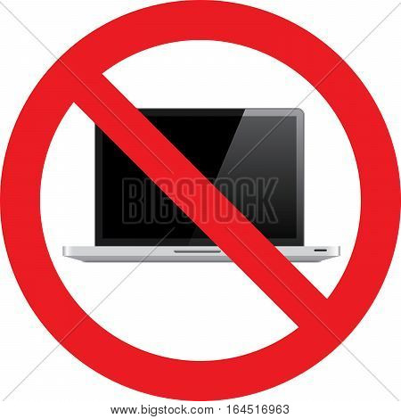 No Laptop allowed sign on a white background