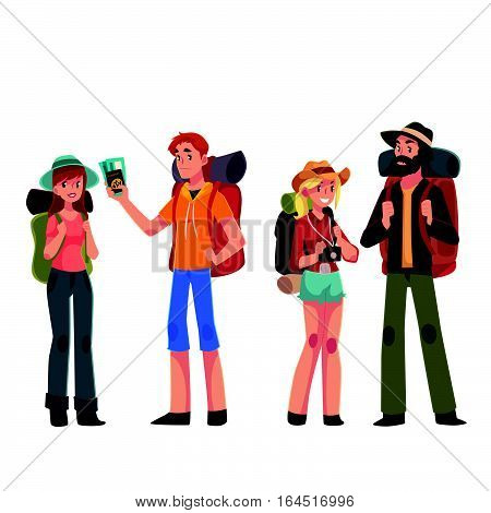 Set of young male and female travelers with backpacks, cartoon illustration isolated on white background. Boyes and girls traveling with backpacks, backpackers in airport, arriving or departing