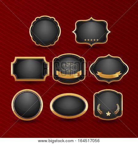 Collection of elegant black and golden design elements - buttons badges labels. Vector illustration.
