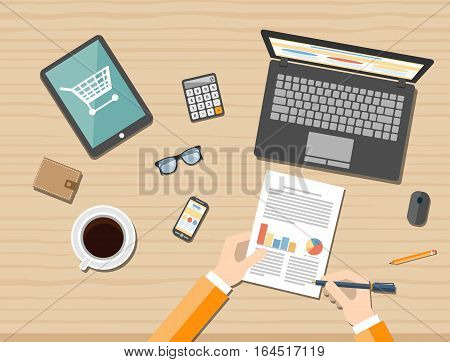 Online shopping concept desktop with computer table coffee cup sunglasses phone. Vector illustration.