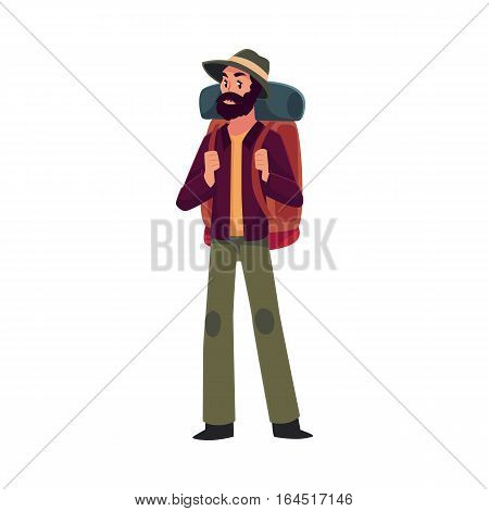 Traveler, backpacker, hitchhiker, geologist or archeologist with backpack, cartoon illustration isolated on white background. Young man with backpack going to travel, hiking, expedition